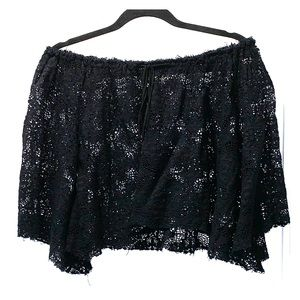 LOVE SHACK FANCY black lace off shoulder top